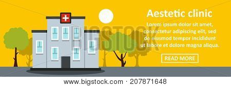 Aesthetic clinic banner horizontal concept. Flat illustration of aesthetic clinic banner horizontal vector concept for web design