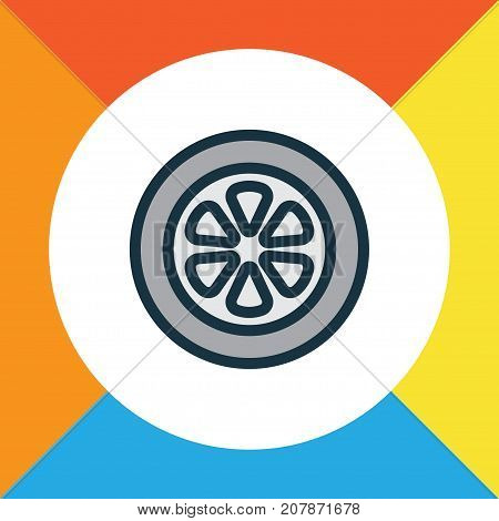 Premium Quality Isolated Drive  Element In Trendy Style.  Wheel Colorful Outline Symbol.