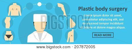Plastic body surgery banner horizontal concept. Flat illustration of plastic body surgery banner horizontal vector concept for web design