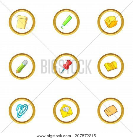 Stationery related icons set. Cartoon style set of 9 stationery related vector icons for web design
