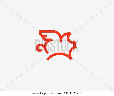 Flying pig line vector logotype. Creative pork grill steak wing logo design.