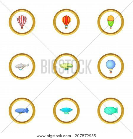 Different airships icons set. Cartoon style set of 9 different airships vector icons for web design