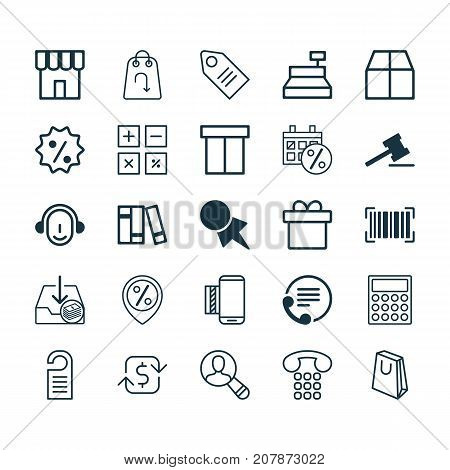 E-Commerce Icons Set. Collection Of Handbag, Refund, Mobile Service Elements