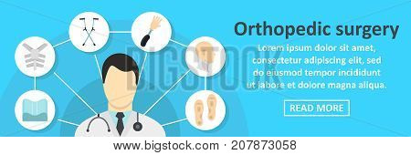 Orthopedic surgery banner horizontal concept. Flat illustration of orthopedic surgery banner horizontal vector concept for web design