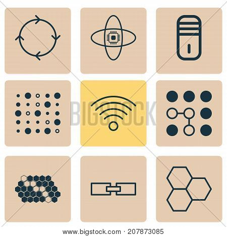 Machine Icons Set. Collection Of Wireless Communications, Variable Architecture, Recurring Program And Other Elements