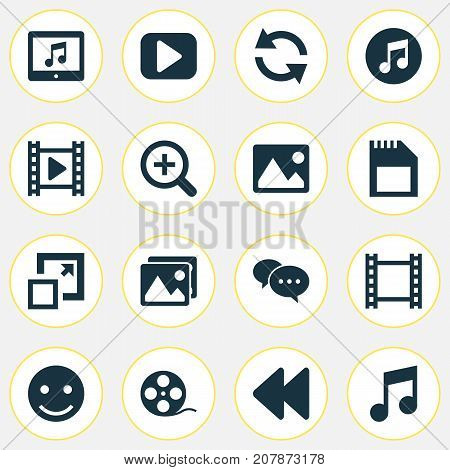Music Icons Set. Collection Of Play, Tablet, Backward And Other Elements