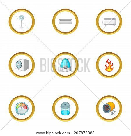 Devices for heating icons set. Cartoon style set of 9 devices for heating vector icons for web design