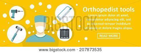 Orthopedist tools banner horizontal concept. Flat illustration of orthopedist tools banner horizontal vector concept for web design