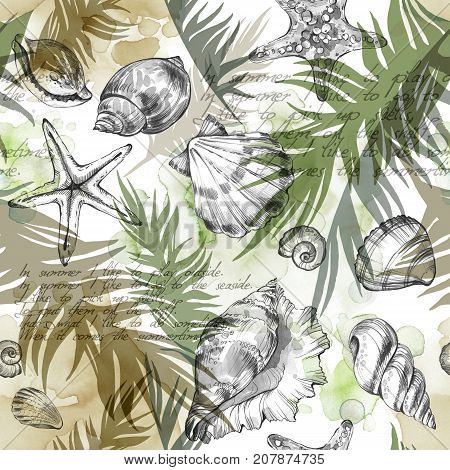 Summer Party holiday background, watercolor illustration. Seamless pattern with sea shells, molluscs and palm leaves. Tropical texture in romantic colors. Can be used for a poster, printing on fabric.