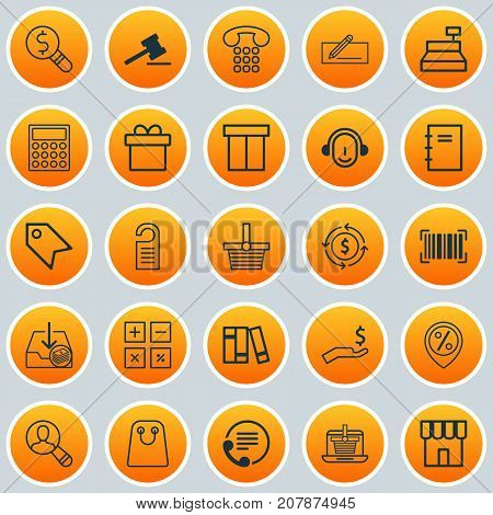 Commerce Icons Set. Collection Of Price Stamp, Tote Bag, Callcentre And Other Elements