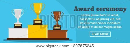 Award ceremony banner horizontal concept. Flat illustration of award ceremony banner horizontal vector concept for web design