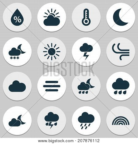 Air Icons Set. Collection Of Nightly, Colors, Moonlight And Other Elements