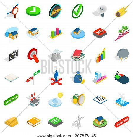 Rejected icons set. Isometric style of 36 rejected vector icons for web isolated on white background