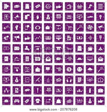 100 digital marketing icons set in grunge style purple color isolated on white background vector illustration