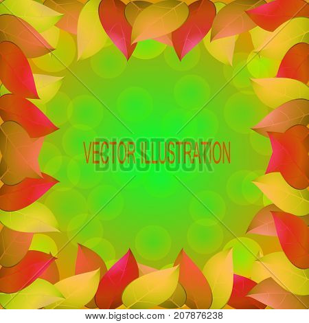 Fantastic autumn background with yellow leaves. Templates for place cards banners presentations reports. Stock vector illustration in green red and yellow colors.