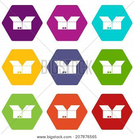 Opened cardboard box icon set many color hexahedron isolated on white vector illustration