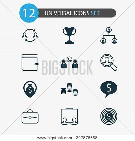 Management Icons Set. Collection Of Tournament, Partnership, Deal And Other Elements