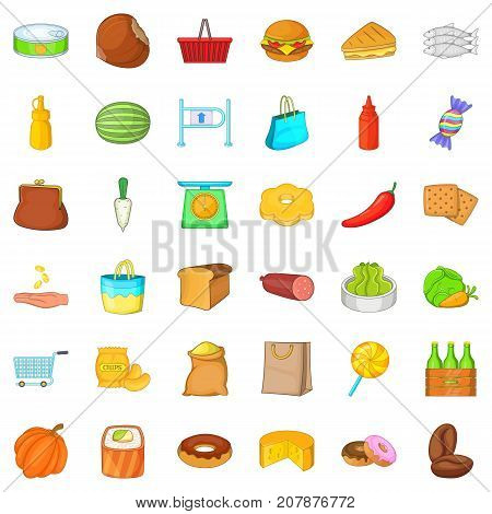 Grocery shopping icons set. Cartoon style of 36 grocery shopping vector icons for web isolated on white background