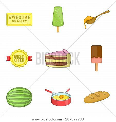 Lollipop icons set. Cartoon set of 9 lollipop vector icons for web isolated on white background