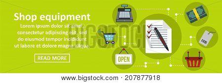 Shop equipment banner horizontal concept. Flat illustration of shop equipment banner horizontal vector concept for web design