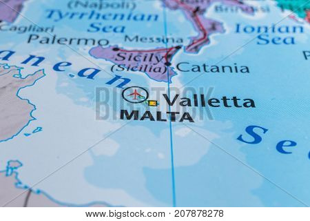 map of malta in the atlas, the concept of travel.