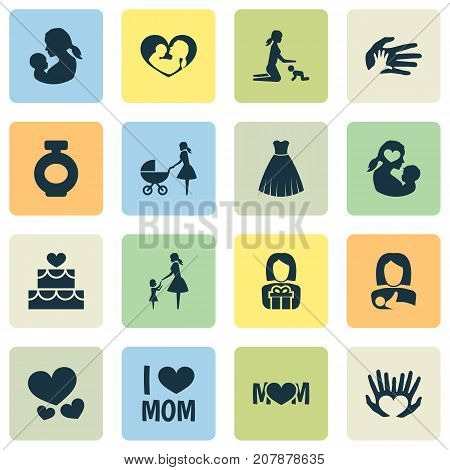 Mothers Day Icon Design Concept. Set Of 16 Such Elements As Baby, Fragrance And Gift To Mother