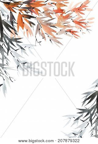 Watercolor and ink illustration of tree foliage. Oriental traditional paintind u-sin sumi-e. Postcard format of picture.