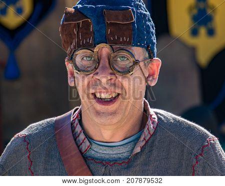 Man Wear Medieval Eye Glasses