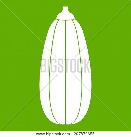 Zucchini vegetable icon white isolated on green background. Vector illustration