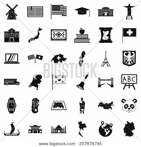 Geography icons set. Simple style of 36 geography vector icons for web isolated on white background poster