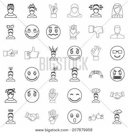 Angry icons set. Outline style of 36 angry vector icons for web isolated on white background