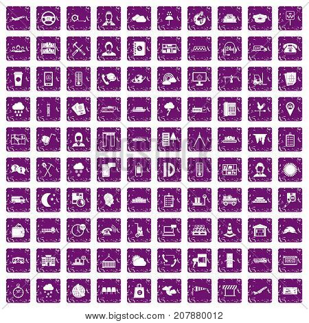 100 dispatcher icons set in grunge style purple color isolated on white background vector illustration