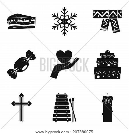 Religious holiday icons set. Simple set of 9 religious holiday vector icons for web isolated on white background