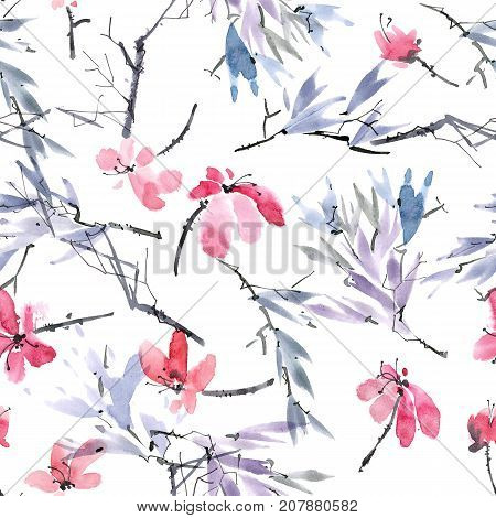 Watercolor and ink illustration of red flowers and leaves. Sumi-e u-sin painting. Seamless pattern.