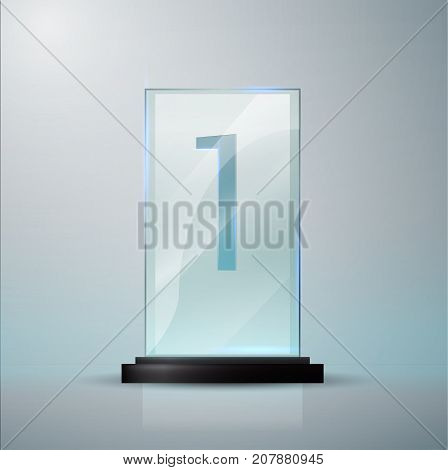 Glass Trophy Award. First Place Prise Plaque. Glass Trophy Mockup Stand On Clear Base. Realistic Vec
