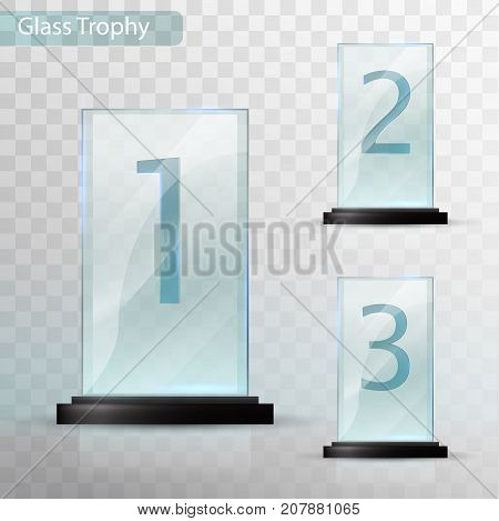 Glass Trophy Award. Set Of Cups - First, Second And Third Place. Prize Template. Glass Trophy Mockup