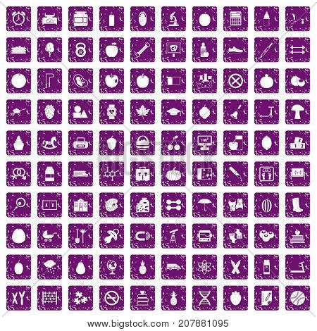 100 apple icons set in grunge style purple color isolated on white background vector illustration
