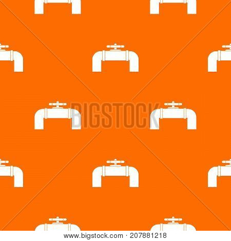 Industrial pipe valve pattern repeat seamless in orange color for any design. Vector geometric illustration