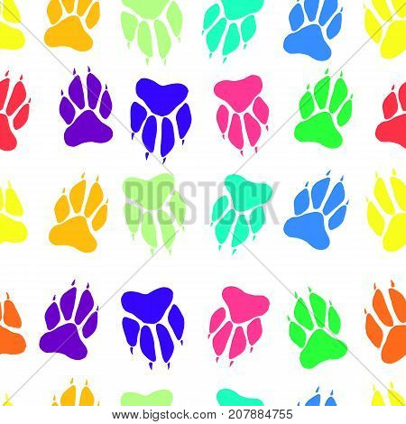 Bright multicolored paw print dog imprint seamless pattern, vector hand drawing animal track, cartoon, funny paw illustration.