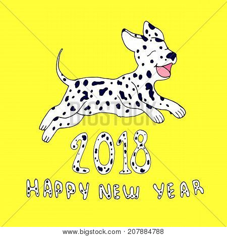 Happy dog as a symbol 2018, isolated on yellow background.Design element for greeting card, cartoon style.Happy New Year vector hand drawing little puppy dalmatian jumping in the new year illustration.