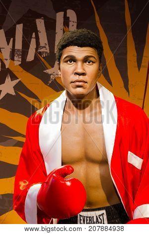 BANGKOK THAILAND - DECEMBER 19: A waxwork of Muhammad Ali on display at Madame Tussauds on December 19 2015 in Bangkok Thailand.