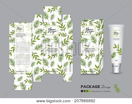 organic packaging Template Vector Illustration. Package tags. healthy products Cream layout. beauty products. Fresh ecological. nature box. green tea Body care spa Oil lotion shampoo Realistic bottle mock up.