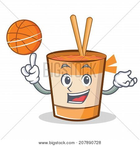 Playing basketball cup noodles character cartoon vector illustration
