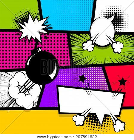 Pop art comics book magazine cover template. Cartoon funny vintage strip comic superhero text, speech bubble, balloon, box message, burst bomb. Vector halftone illustration. Blank humor graphic.