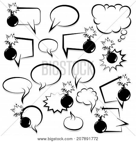 Bomb set explosion picture blank template pop art style comic text speech bubble halftone dot background. Comics book dialog cloud, space cartoon box. Idea monochrome conversation sketch explosion.