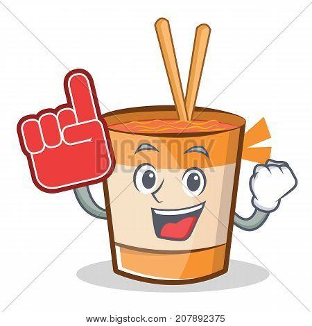 Foam finger cup noodles character cartoon vector illustration