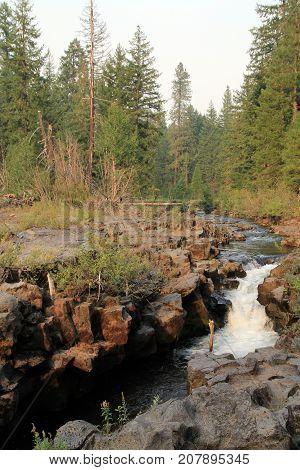 Rogue river waterfalls in California, in USA