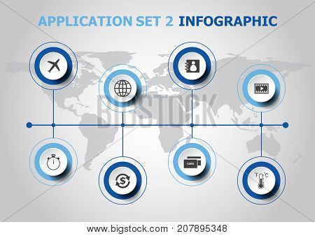 Infographic design with application icons. set 2, stock vector