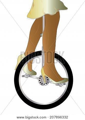 A unicycle and woman rider over an isolated white background