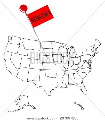 An outline map of USA with a knob pin in the state of Nebraska